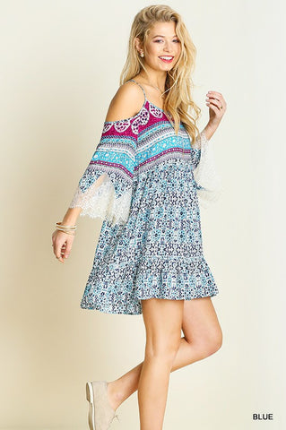 Music Fest Open Shoulder Dress - Blue - Blue Chic Boutique  - 3