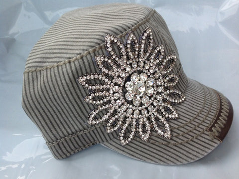 Gray Striped Cadet Hat with Rhinestone Flower - Blue Chic Boutique