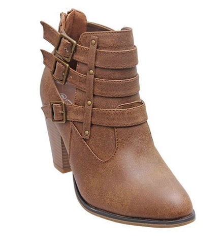 Buckle Ankle Boots - Tan - Blue Chic Boutique  - 5