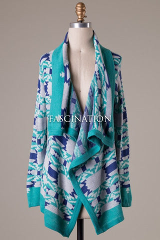 Aztec Print Cardigan -Teal - Blue Chic Boutique