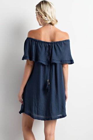 Off Shoulder Dress - Navy - Blue Chic Boutique  - 2