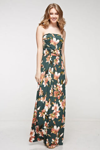 Fabulous Fall Maxi Dress - Hunter Green - Blue Chic Boutique  - 1