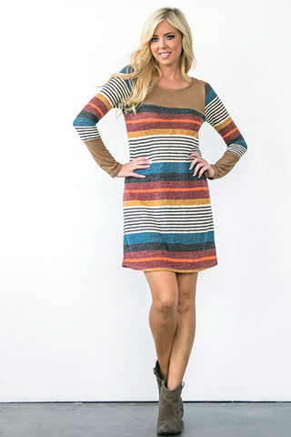 Sophisticated Stripes Dress - Taupe - Blue Chic Boutique  - 3