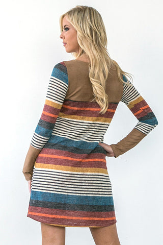 Sophisticated Stripes Dress - Taupe - Blue Chic Boutique  - 9