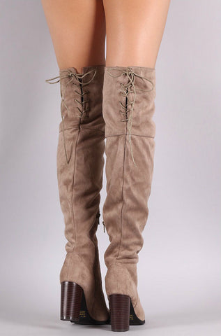 Over the Knee Lace Up Boots with Heel - Taupe - Blue Chic Boutique  - 3