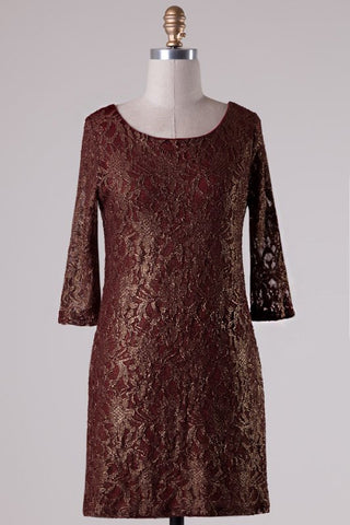 Metallic Lace Dress - Burgundy - Blue Chic Boutique  - 2