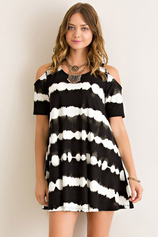 Tie Dye Cold Shoulder Dress - Black - Blue Chic Boutique  - 1