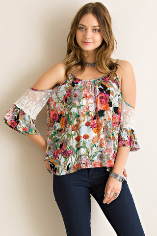 Floral Open Shoulder Top - Pink - Blue Chic Boutique  - 1