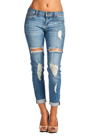 Medium Wash Distressed Jeans - Blue Chic Boutique  - 1