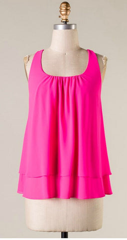 Hot Pink Tank with Ruffle Racerback - Blue Chic Boutique  - 2