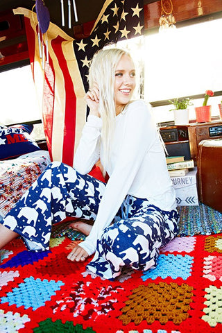 Casual Elephant Print Pants - Navy - Blue Chic Boutique  - 1