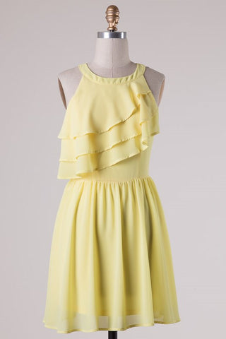 Ruffle Dress - Yellow - Blue Chic Boutique  - 6