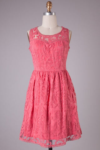 Sweetheart Lace Dress - Deep Pink - Blue Chic Boutique  - 1