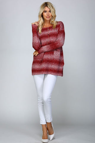 Ombre Striped Sweater - Burgundy - Blue Chic Boutique  - 4