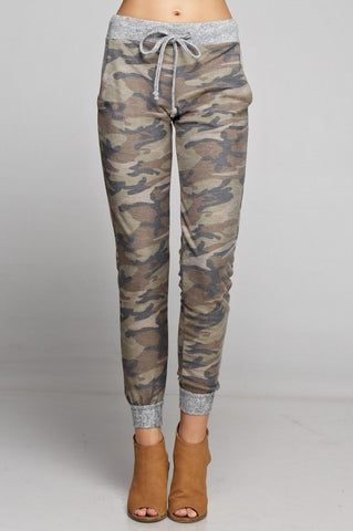 Camo Jogger with Solid Trim - Brown and Olive - Blue Chic Boutique  - 1