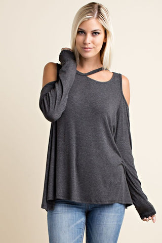 Winery Tour Top - Charcoal - Blue Chic Boutique  - 2