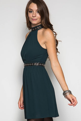 Fall Elegance Halter Dress - Sea Green - Blue Chic Boutique  - 5