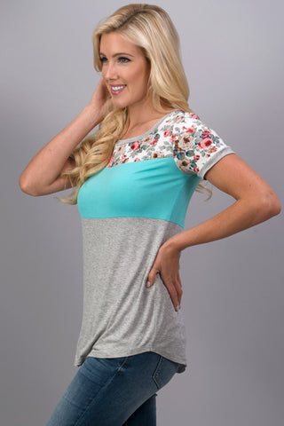 A Hint of Floral Top - Mint - Blue Chic Boutique  - 3