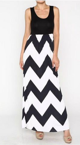Affinity For Chevron Dress - Black and White - Blue Chic Boutique