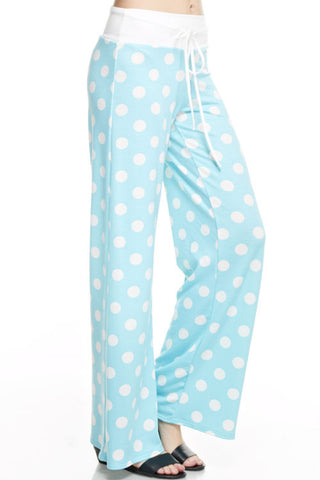 Casual Polka Dot Pants - Aqua - Blue Chic Boutique  - 1