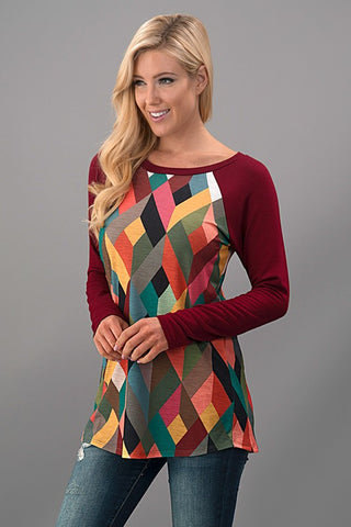 Geometric Fall Top - Mustard - Blue Chic Boutique  - 3