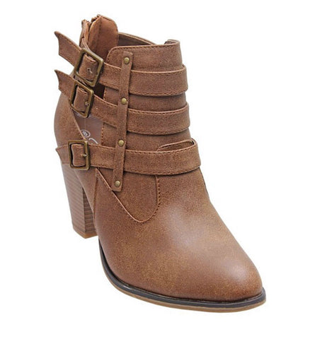Buckle Ankle Boots - Tan - Blue Chic Boutique  - 7