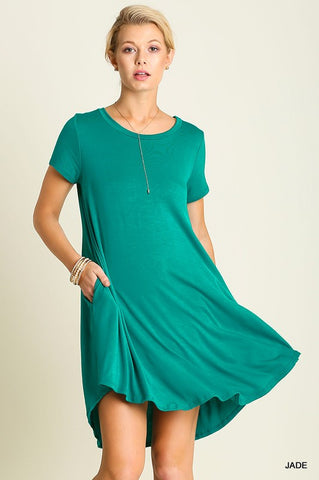 Solid Trapeze Dress  - Jade - Blue Chic Boutique  - 1