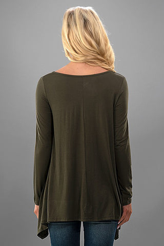 Flowy Sequined Pocket Top - Olive - Blue Chic Boutique  - 4