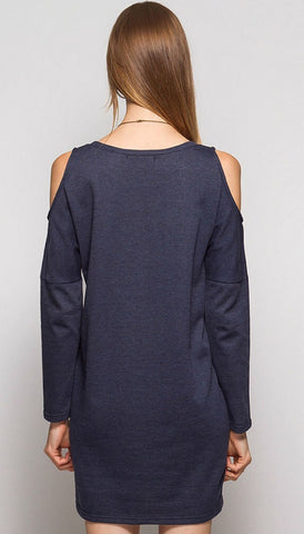 Cold Shoulder Sweatshirt Tunic - Navy - Blue Chic Boutique  - 2
