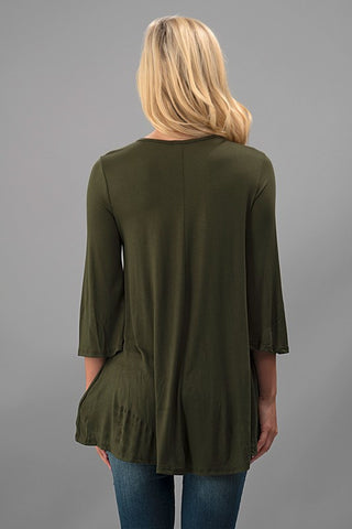 Flowy Tunic Top - Olive - Blue Chic Boutique  - 4