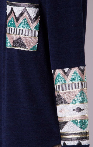 Sequin Sleeved Tunic Top with Pocket - Navy - Blue Chic Boutique  - 3