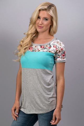 A Hint of Floral Top - Mint - Blue Chic Boutique  - 1