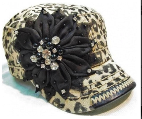 Brown Leopard Print Hat with Black Flower - Blue Chic Boutique