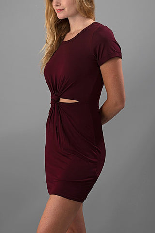 A Little Bit Knotty Dress - Burgundy - Blue Chic Boutique  - 2