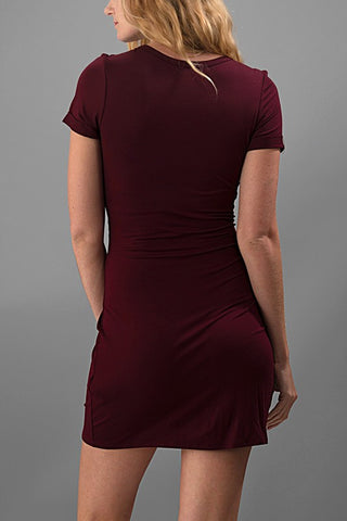 A Little Bit Knotty Dress - Burgundy - Blue Chic Boutique  - 3