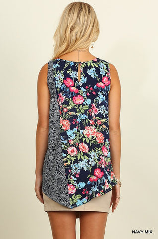 Floral Garden Tank Top - Navy Mix - Blue Chic Boutique  - 3