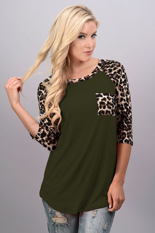 Leopard Sleeve Print 3/4 Sleeve Top - Olive - Blue Chic Boutique