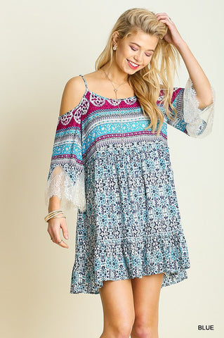 Music Fest Open Shoulder Dress - Blue - Blue Chic Boutique  - 1