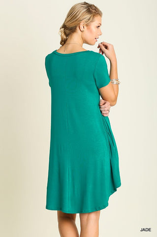 Solid Trapeze Dress  - Jade - Blue Chic Boutique  - 3