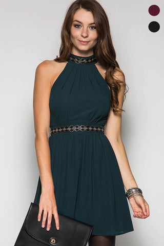 Fall Elegance Halter Dress - Sea Green - Blue Chic Boutique  - 2