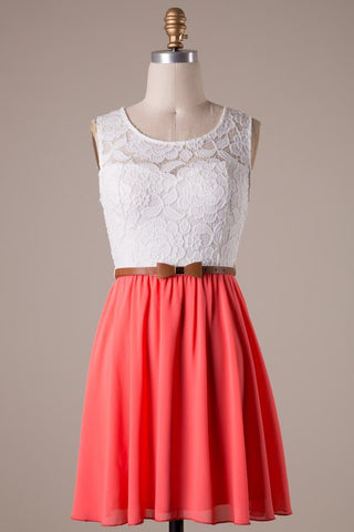 Coral and White Dress with Bow Belt - Blue Chic Boutique  - 1