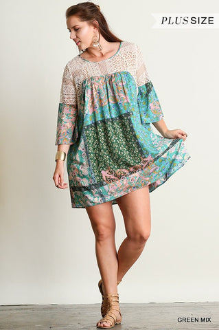 Free Spirit Dress - Green - Plus - Blue Chic Boutique  - 1