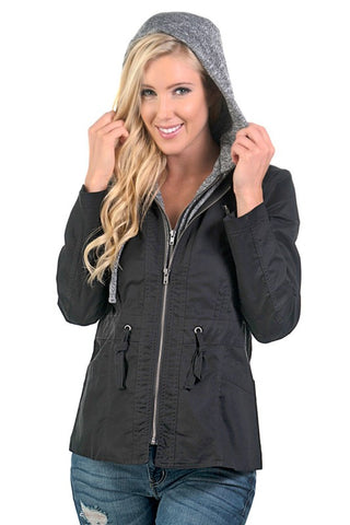 Fall Coat with Hood - Black - Blue Chic Boutique  - 1