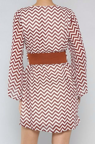 Zig Zag White and Wine Dress with Brown Belt - Blue Chic Boutique  - 3