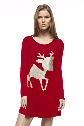 Glitter Rudolf the Reindeer Tunic Top - Red - Blue Chic Boutique  - 6