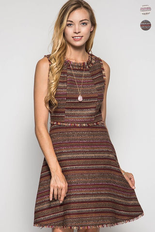 Fall Tweed Dress - Brown - Blue Chic Boutique  - 2