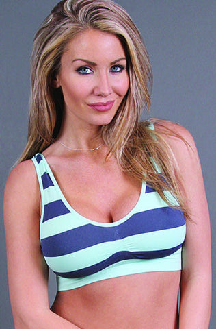 Striped Comfort Bra - Fits 32A-36D - Blue Chic Boutique  - 1