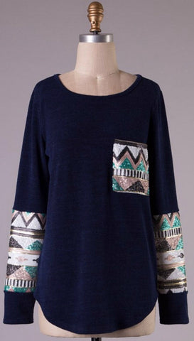 Sequin Sleeved Tunic Top with Pocket - Navy - Blue Chic Boutique  - 1