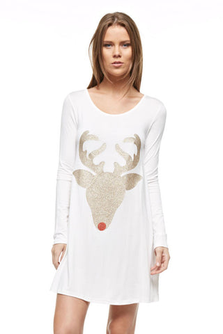 Glitter Reindeer Tunic - White - Kids sizes to 3XL - Blue Chic Boutique  - 1