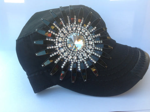Black Hat with Black Rhinestone Daisy - Blue Chic Boutique  - 1